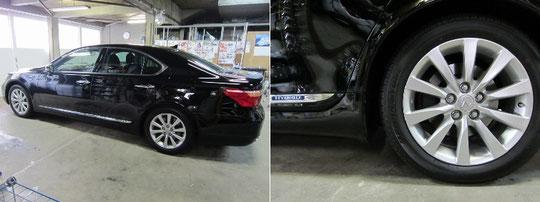 レクサスLS600hハイブリッドのホイールガリ傷車両外観写真