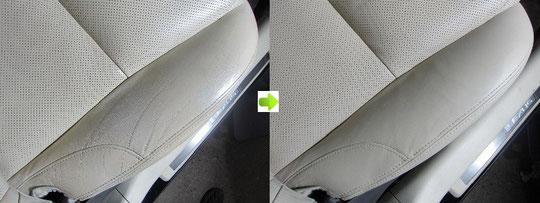 レクサスIS350劣化(擦れ・ひび割れ・傷・ささくれ・汚れ)レザーシートの修理・修復前後の比較アップ写真1