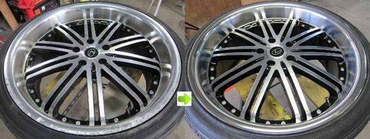 レクサスIS TOM'Sレーシング仕様のホイールのガリキズ・擦り傷・欠けの修理前後の比較写真1