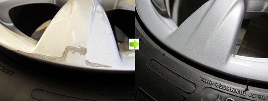 アウディA4純正ホイールのガリ傷、スリキズのリペア(修理)前後(ビフォーアフター)傷アップ写真