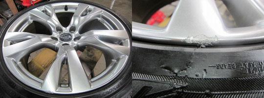 2012年式4月販売の日産フーガのハイパーシルバーホイールのガリキズ、擦り傷、欠けのリペア(修理修復再生)前後比較写真