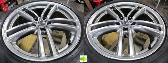 日産フーガのハイパーシルバーホイールのガリキズ、擦り傷、欠けのリペア(修理修復)前後比較写真1