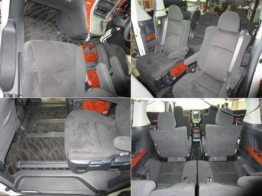 トヨタ・アルファードのルーム(車内)クリーニング、施工中写真