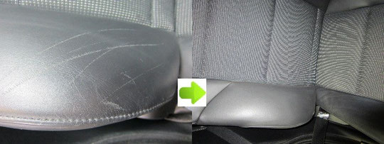 BMWレザーシート傷リペアの写真ビフォーアフター2