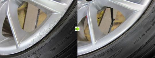 BMW335Mのホイール(シルバー)のガリキズ・スリ傷・欠けのリペア(修理・修復・再生)前後の比較写真2