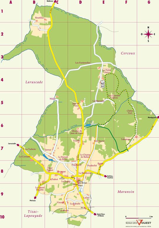 Localisation des Lieux Dits de Lapouyade