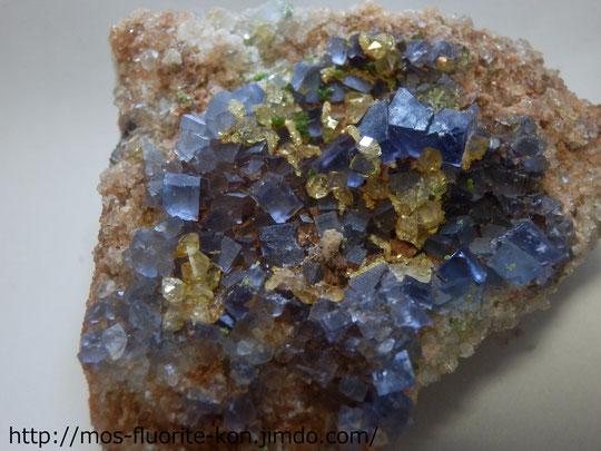 Blue Fluorite, Citrine,pyromorphite