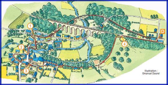 Cartographie du circuit (Emmanuel Daurel, pour l'ADRT Aisne).