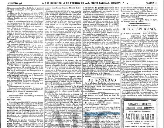 ABC 23 de febrero de 1908 Parroquia del PILAR