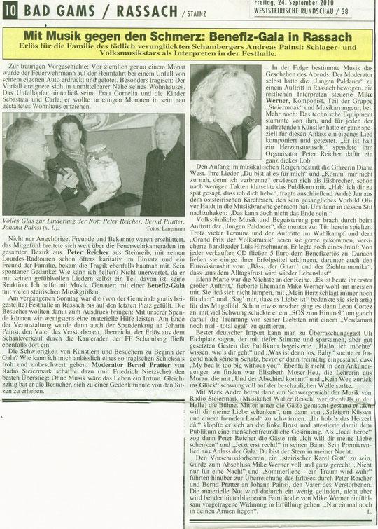 Zeitungs-Bericht:Weststeirische Rundschau 24.9.2010