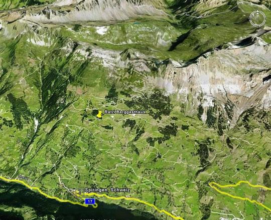 Spiringen am Klausenpass mit Berggasthaus Ratzi & Bergstation der LSB Ratzi