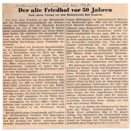 Wetterauer Zeitung vom 20.11.1967