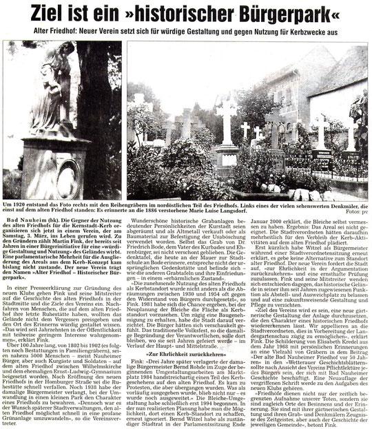 Wetterauer Zeitung vom 3. März 2008