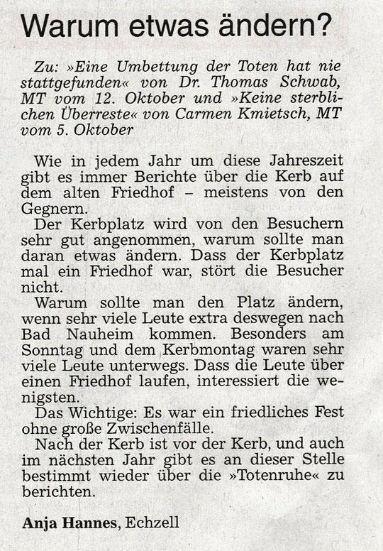 Wetterauer Zeitung vom 14. Oktober 2016
