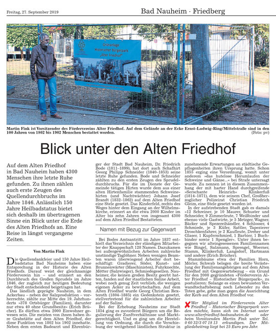 Wetterauer Zeitung vom 27. September 2019