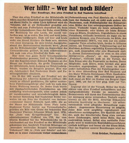 Wetterauer Zeitung vom 15. Dezember 1964  (Text zum Vergrößern anklicken)
