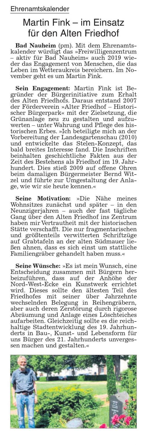 Wetterauer Zeitung vom 5. November 2019
