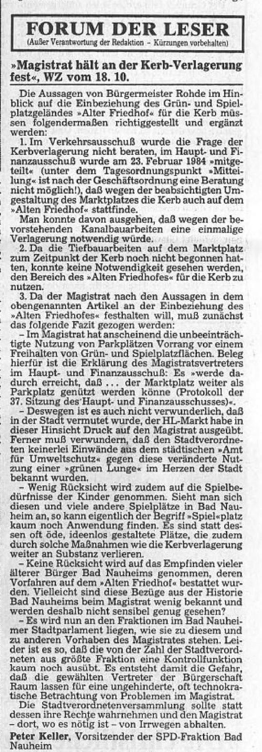 Wetterauer Zeitung vom 20.10.1984