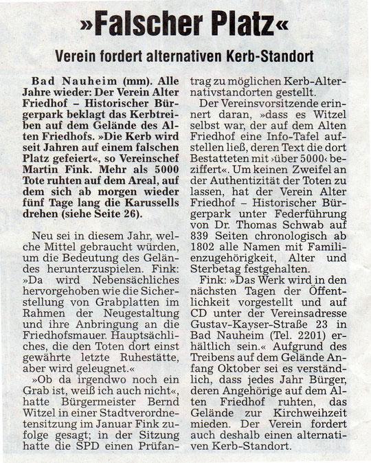 Wetterauer Zeitung vom 04.10.2007