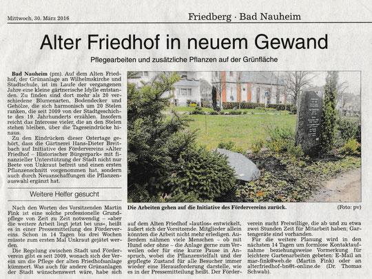 Wetterauer Zeitung vom 30. März 2016