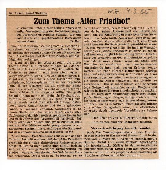 Wetterauer Zeitung vom 04.03.1965