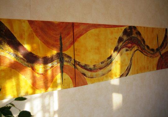 Triptychon 210x50cm Acryl
