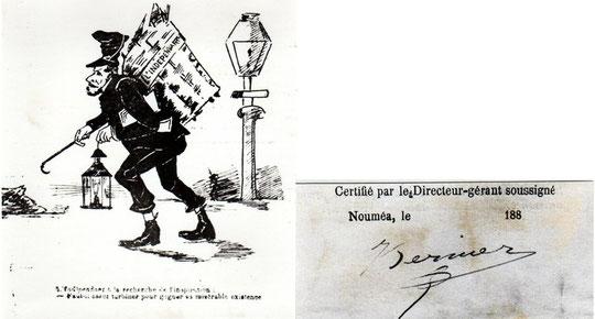 Julien Bernier : caricature, dans Le Casse-tête Calédonien (n° 3) et signature, dans L'indépendant (exemplaire destiné au dépôt légal).