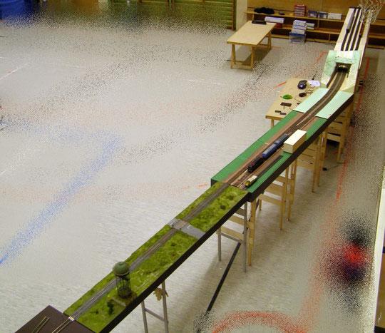 Drei Segmente des 'Hafenmodul' (6 Segmente) als Teil der Fahrstrecke