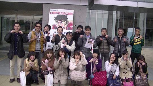 大会を終えて笑顔の寺西さん、磯部さん、田中さん