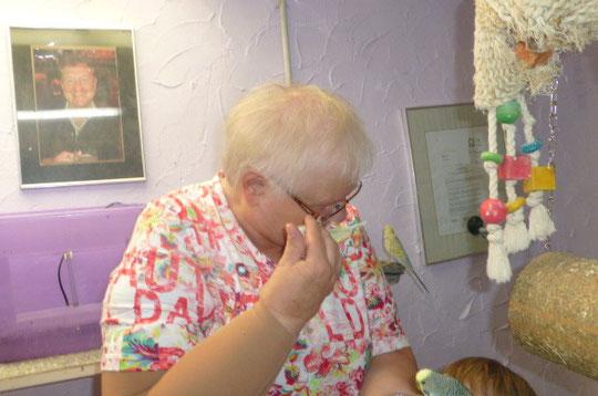 Oma hatte richtig Spaß und Mühe meinen Willi von ihrer Brille zu bekommen. Sobald jemand mit Brille kommt klebt er förmlich an dieser fest wie angetackert. Hahahaha
