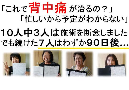 背中が痛い奈良県葛城市の人々