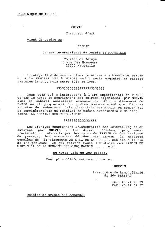Communiqué de Presse de SERVIN pour l'achat des archives