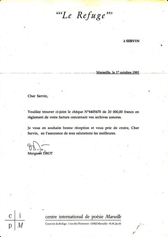 Lettre d'achat des archives des Mardis de SERVIN