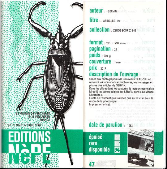 Couverture du catalogue de l'éditeur  et sa présentation du livre de SERVIN