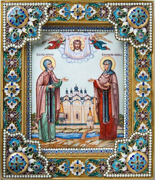 Икона свв. Петра и Февронии.Иконы в эмалевых окладах