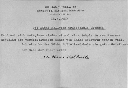 Widmung von Hans Kollwitz