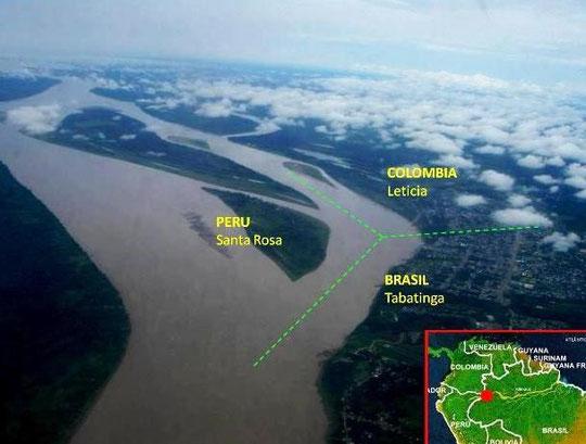 3-Länder-Eck am Amazonasfluss PERU/KOLUMBIEN/BRASILIEN