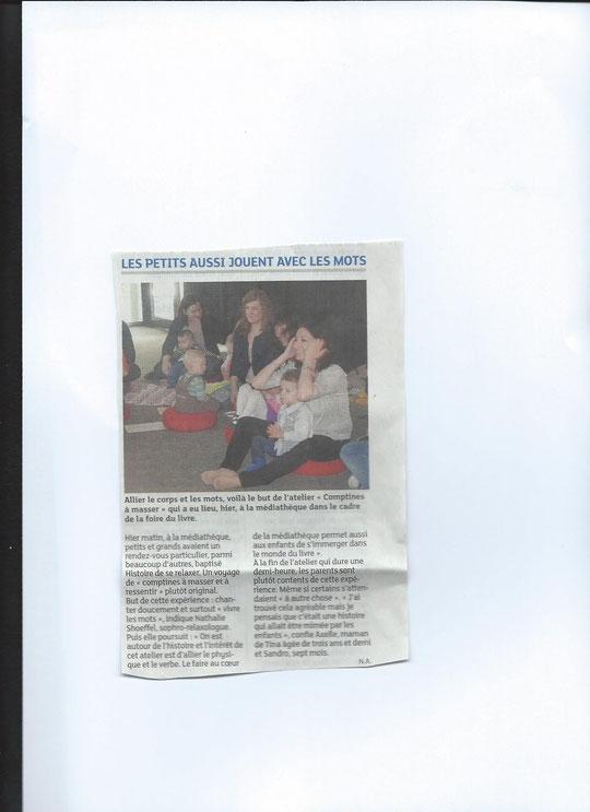 """DNA Saint-Louis 12 05 2014, article Nolwen Allain sur l'atelier """"Comptines à masser et historiettes à ressentir"""""""