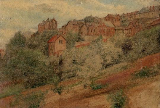 Son dernier tableau inachevé, car il perdait la vue, represente le 20 rampe Saint Marcel, vu du jardin du 56, 2 de ses maisons