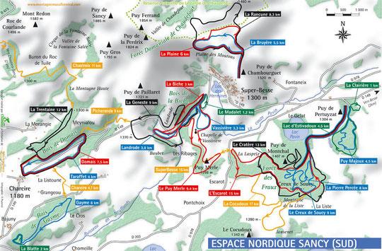 plan des pistes de ski de fond