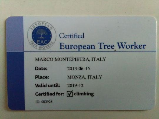 Certificazione Europea Arboricoltore n.º 003928