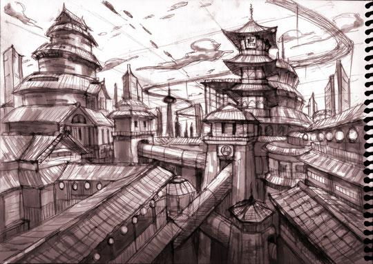 進級課題は「京都×未来」を指定テーマに考えています。世界観をラフスケッチ中www