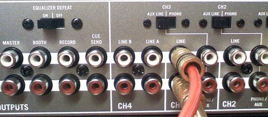 DJ Mischpult Anschlussseite Cinch