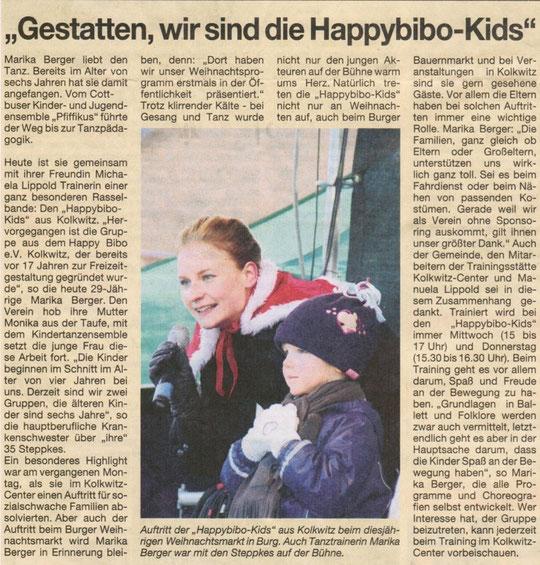 """""""Gestatten, wir sind die Happybibo-Kids"""" Lausitzer Rundschau am 22. Dez 2010"""