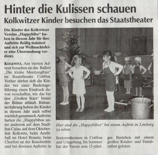 Kolkwitzer Kinder besuchen das Staatstheater, Lausitzer Rundschau am 17. Dez 2008