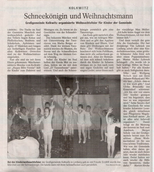 """Musikalische Erzählung """"Die Schneekönigin"""", Lausitzer Rundschau am 19. Dez 2005"""