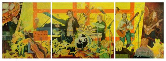 B-M Band · 2014 ·  Acryl, Öl auf Leinwand · 360 x 140 cm