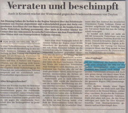 Tages-Anzeiger 13. prosinca 1995. godine, Erich Rathfelder - Split