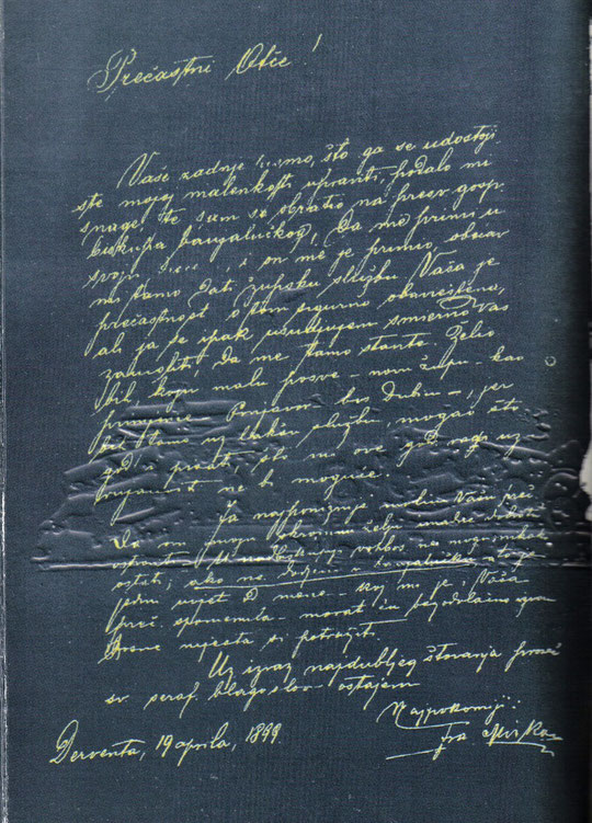 Fra Mirko se javlja upravi provicije pismom pisanim iz Dervente 19. travnja 1899.