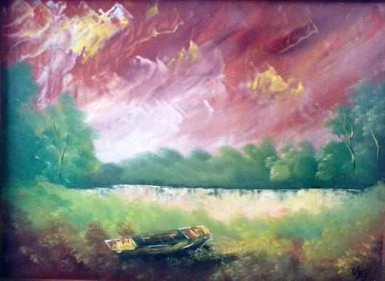 Posavlje u srcu - Ulje na platnu 60x40 cm, Devid Kafedžić